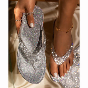 🔥Summer promotion Only $19.99🔥Buy 2 Get Free Shipping Women's Rhinestone Flat Slippers
