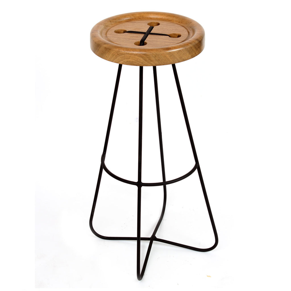 Button Bar Stool - African Walnut