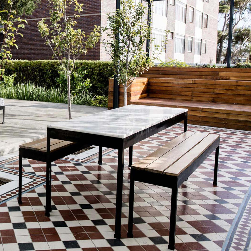Marble and timber outdoor set