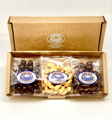 Mini Trio - Dark Chocolate Sea Salt Caramels, Giant Cashews & Chocolate Almonds