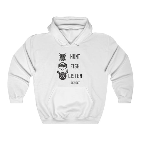 Hunt, Fish, Listen, Repeat. Unisex Heavy Blend Hooded Sweatshirt