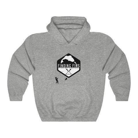 Finding Fins - Woman Fishing - Unisex Heavy Blend™ Hooded Sweatshirt