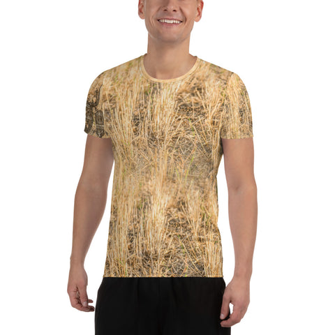 All-Over Print Men's Athletic T-shirt - Early Goose Wheat Field
