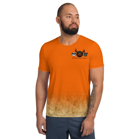 Blaze Orange Rooster and Hen - All-Over Print Men's Athletic T-shirt