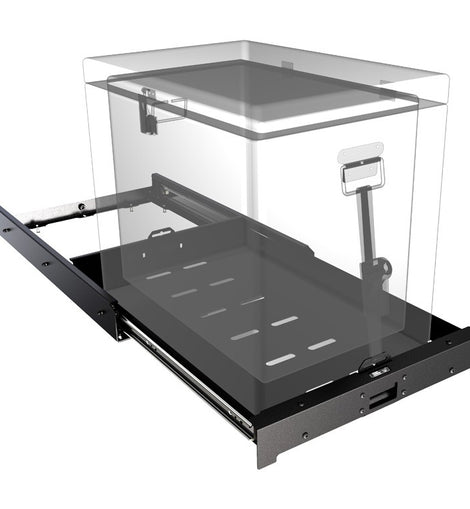 This slide out tray offers easy access to a fridge (52L and smaller) and/or other stored gear with a low profile, rigid design. Product Dimensions: 793mm (31.2'') L x 535mm (21.1'') W x 85mm (3.3'') H