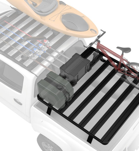 This kit creates a full size rack that sits above your Nissan Titan's truck bed. This Slimline II cargo carrying rack kit contains the Slimline II tray (1475mm x 1358mm), 2 Tracks, and 4 Pickup Truck Bed Universal Legs that fit into the Tracks. Drilling may be required for installation.