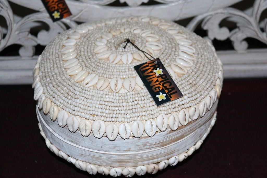 NEW Balinese BOHO Hand Crafted Woven Basket with Lid / Shell & Bead Trim - 3 Siz