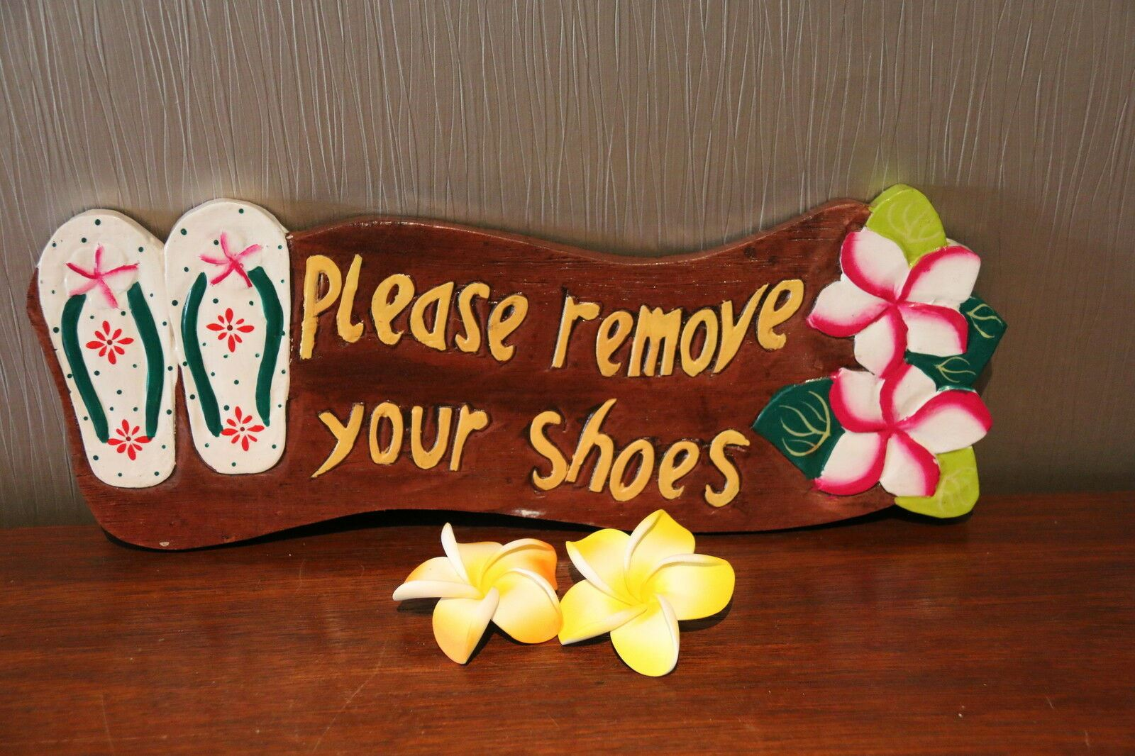 NEW Bali Hand Crafted PLEASE REMOVE SHOES Sign -  Many Colours Available