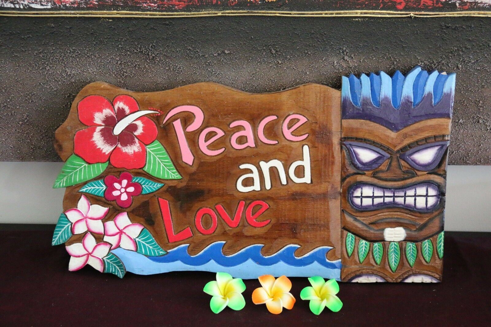 NEW Bali Hand Crafted Tiki Bar LOVE & PEACE Sign - 2 Colours available