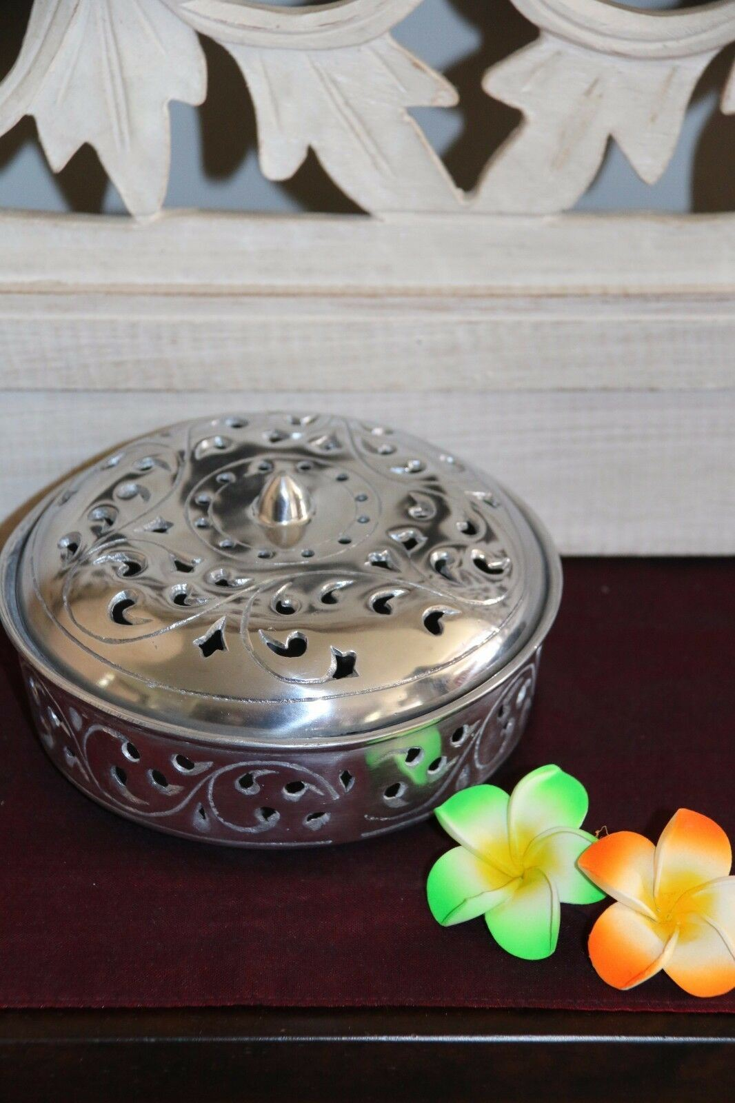 NEW Balinese Ornate Metal Mozzie Coil Holder - Mosquito Coil Holder 2 Colours!!