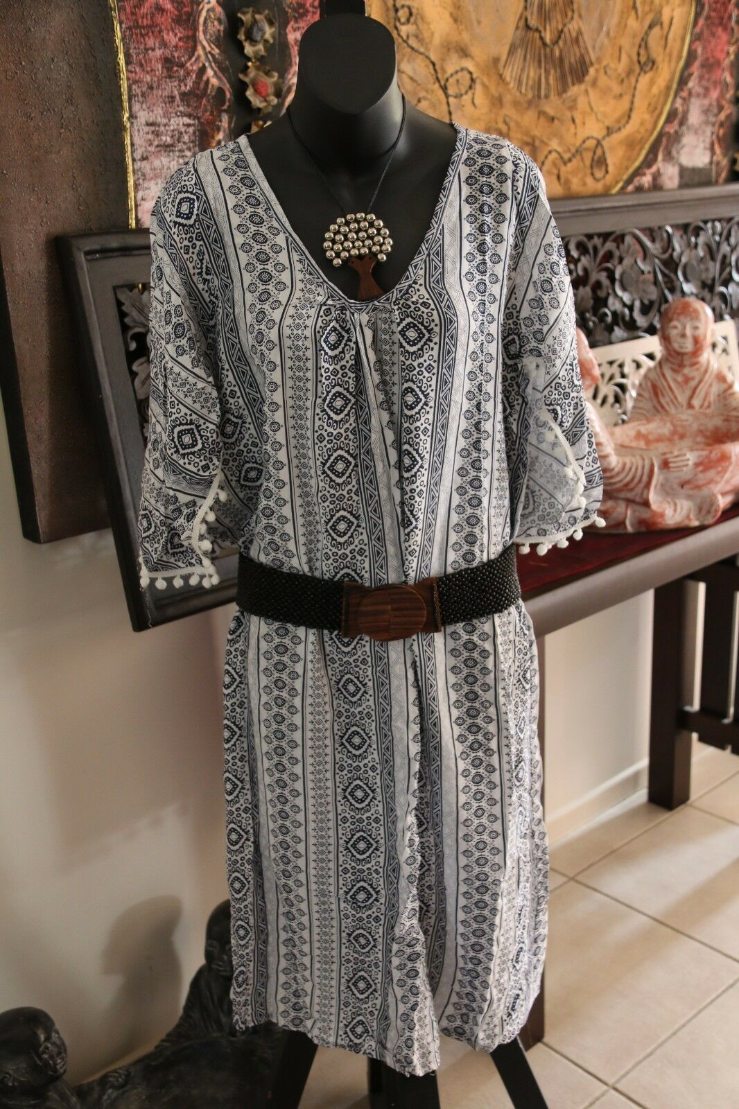 NEW Ladies Rayon/Cotton Bali Pom Pom Dress / One Size / Great mid-season dress..