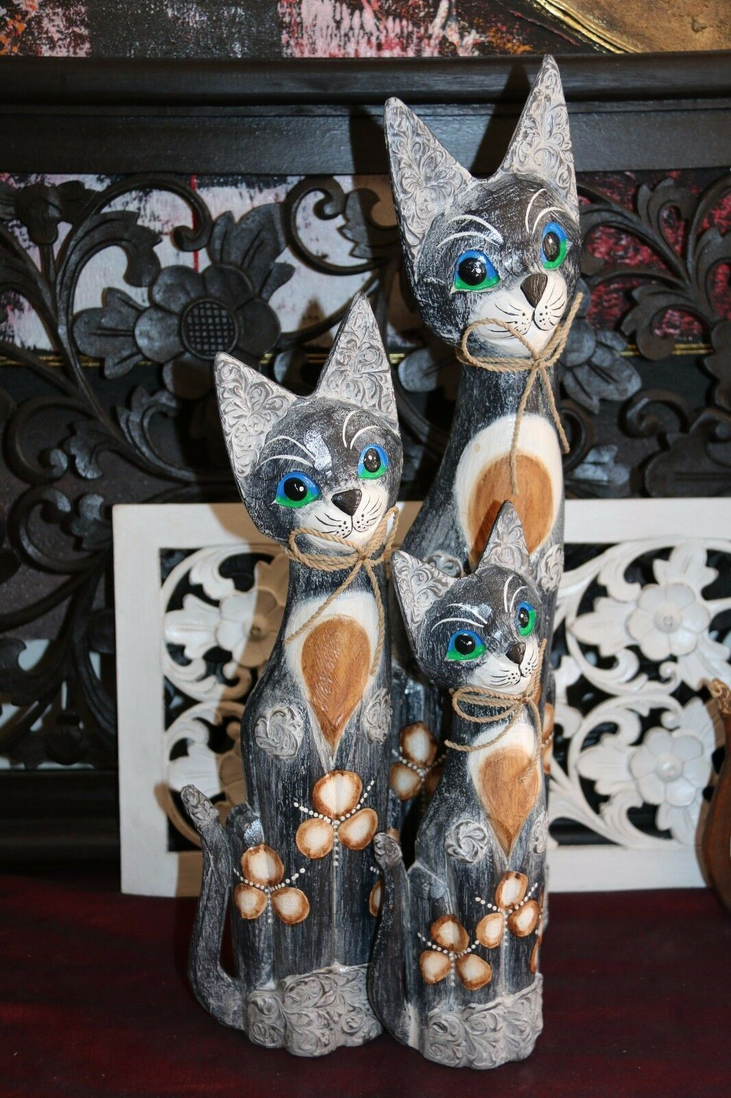 NEW Balinese Hand Carved Set 3 Cats - Wood Carved Bali Animals - Set 3 cats CUTE
