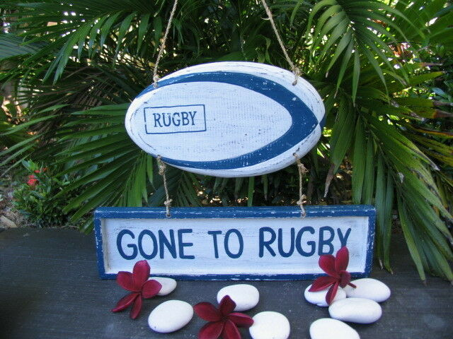 Brand New Bali Handmade GONE TO RUGBY Hanger Sign Balinese Nautical Range