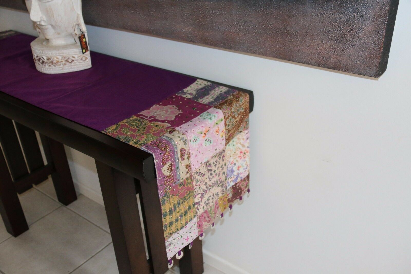 NEW Balinese 2m Table Runner - Beautiful Fabric w/Beading & Coins - MANY COLOURS