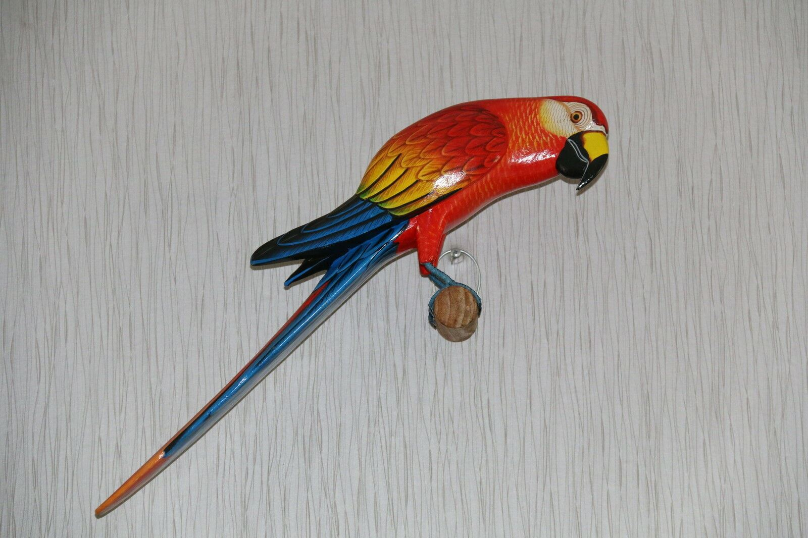 NEW Bali Hand Carved Macaw on Perch - Bali Bird Wall Art - Hand Crafted Macaw