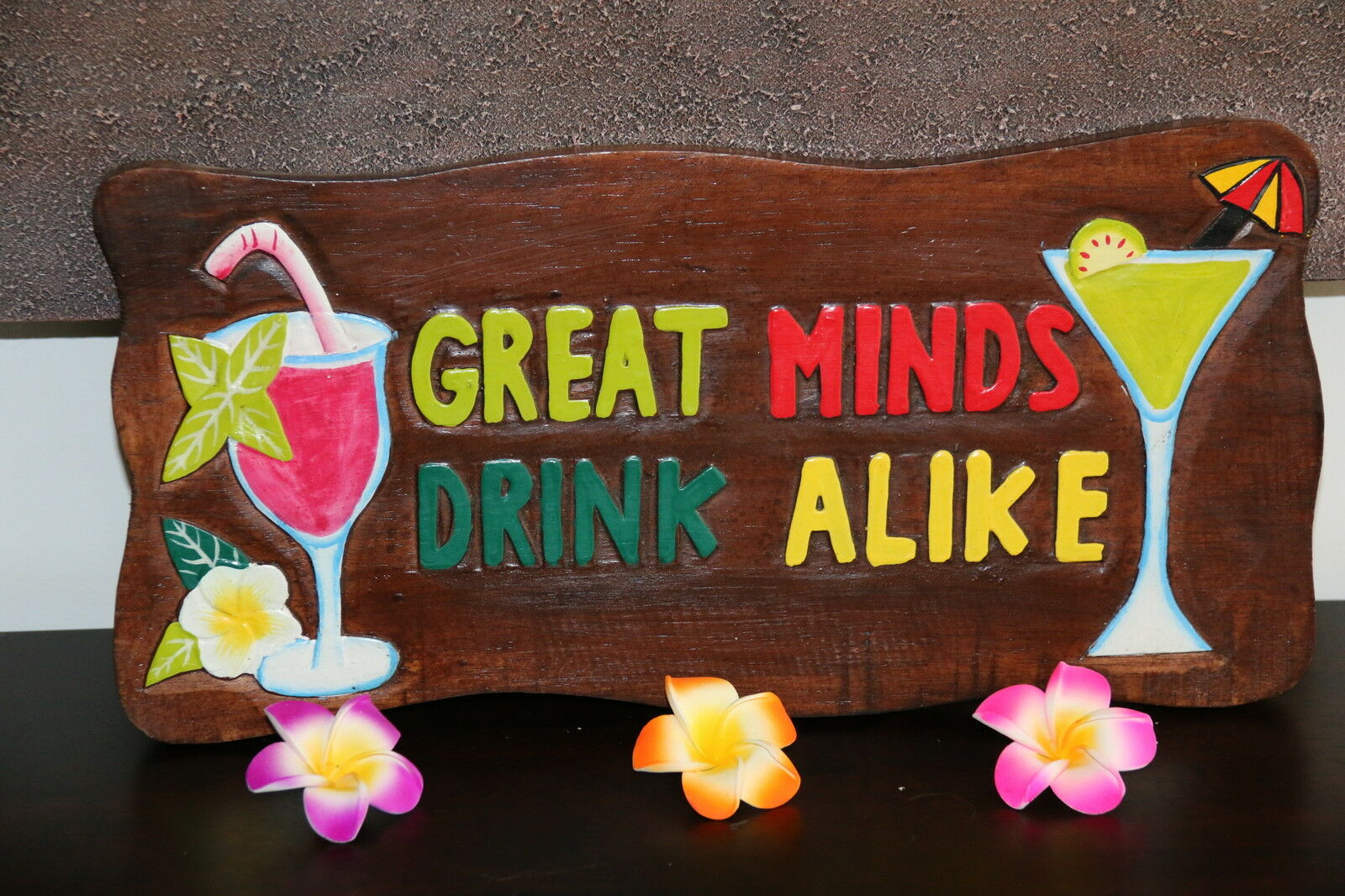 NEW Hand Crafted & Carved Tiki Bar GREAT MINDS DRINK ALIKE Sign - Bali Bar Sign