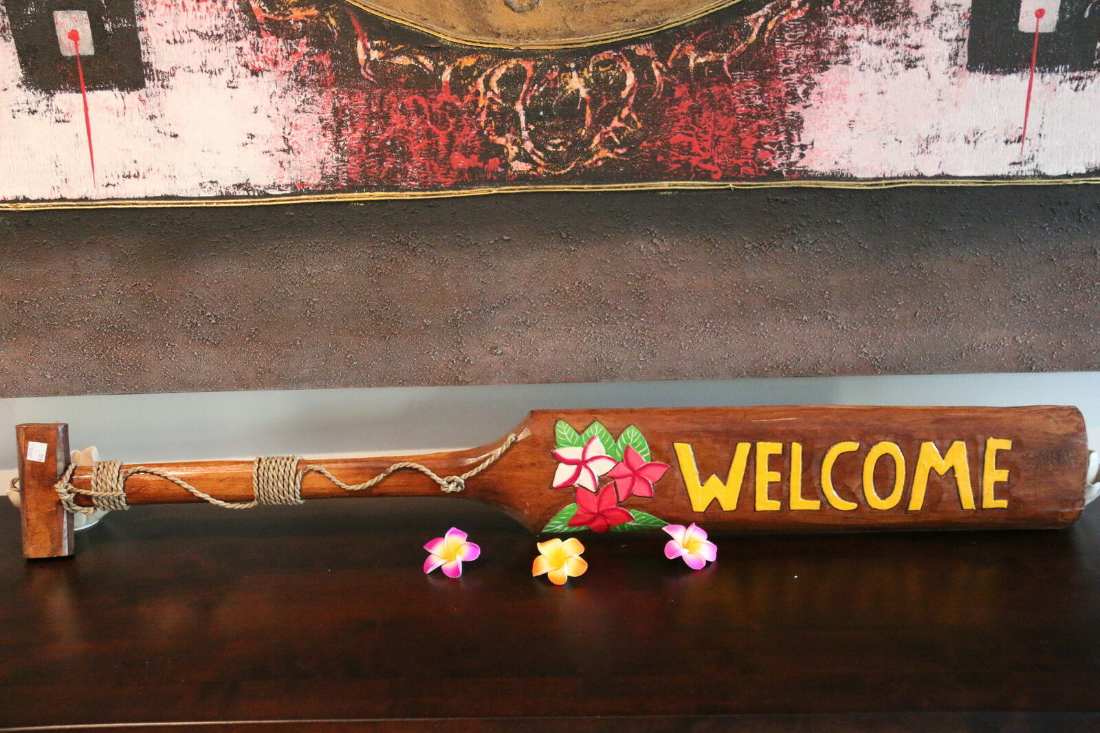 NEW Hand Crafted & Carved Tiki Bar WELCOME Paddle Sign - Tropical Bali Bar Sign