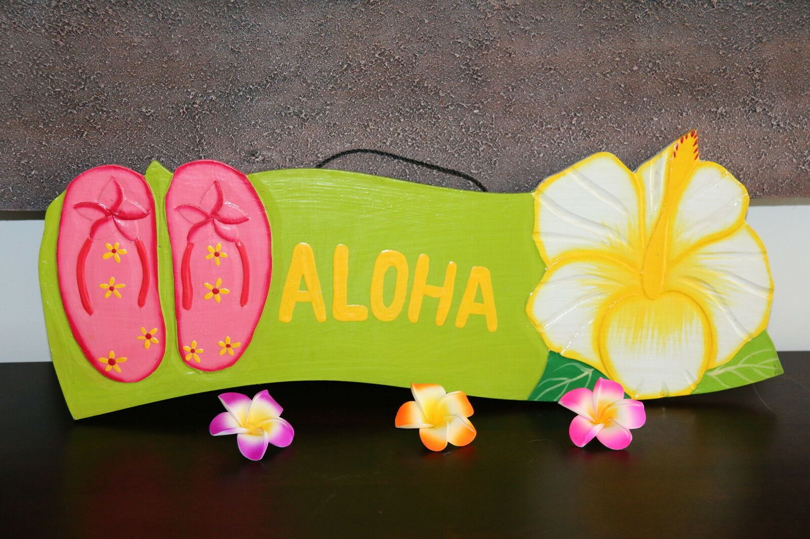 NEW Bali Hand Crafted ALOHA Sign -  Many Colours - Tropical Design FREEPOST