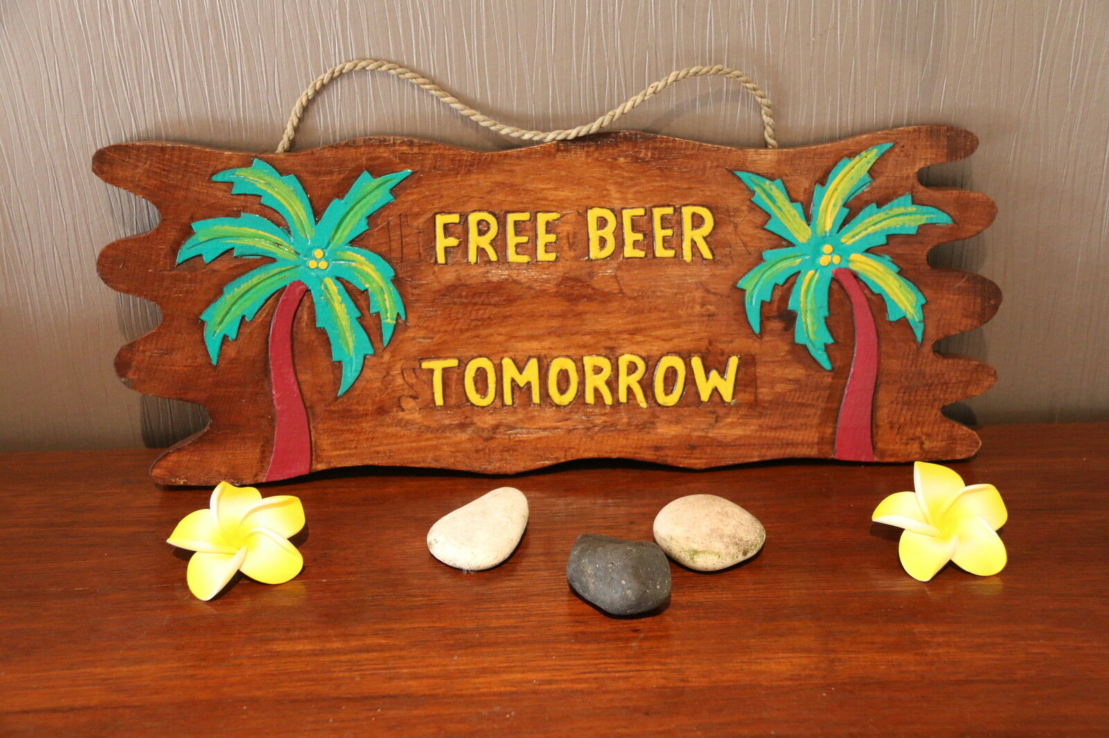NEW Hand Crafted Tiki Bar Free Beer Tomorrow Sign - Bali Bar Sign - Made in Bali