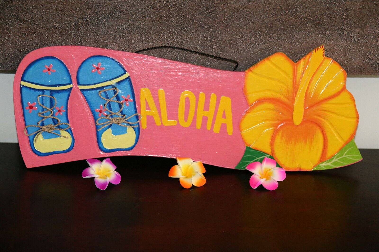 NEW Bali Hand Crafted ALOHA Sign -  Many Colours - Tropical Design FREEPOST!!