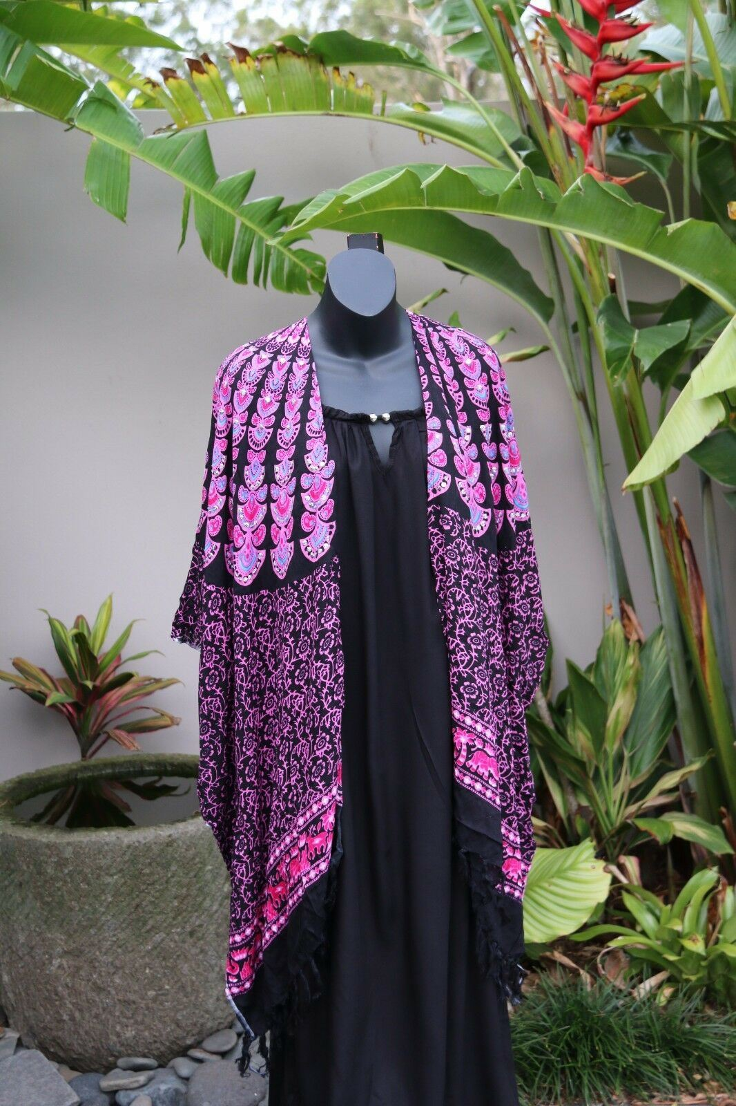 Balinese Mandala Print Light Weight Jacket with Sequins MANY COLOURS - One Size