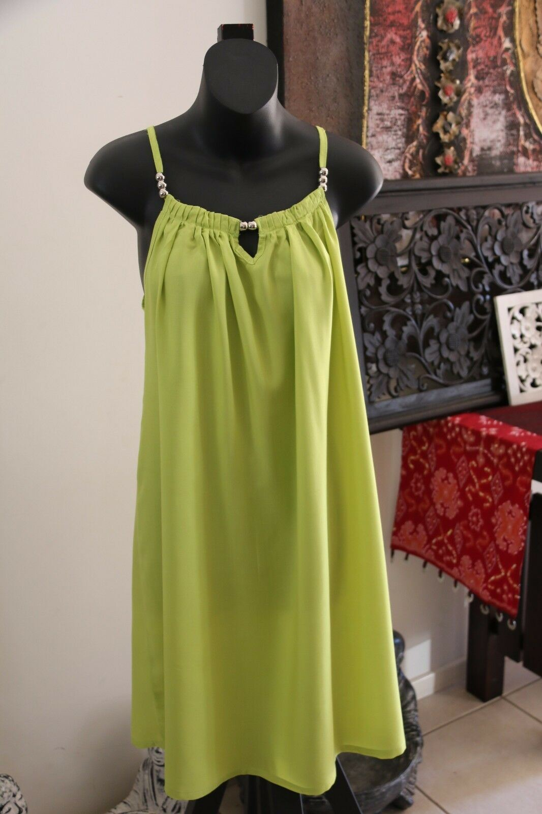 NEW Ladies Cotton Bali Knee Length Dress / One Size / Cool Summer Casual Dress