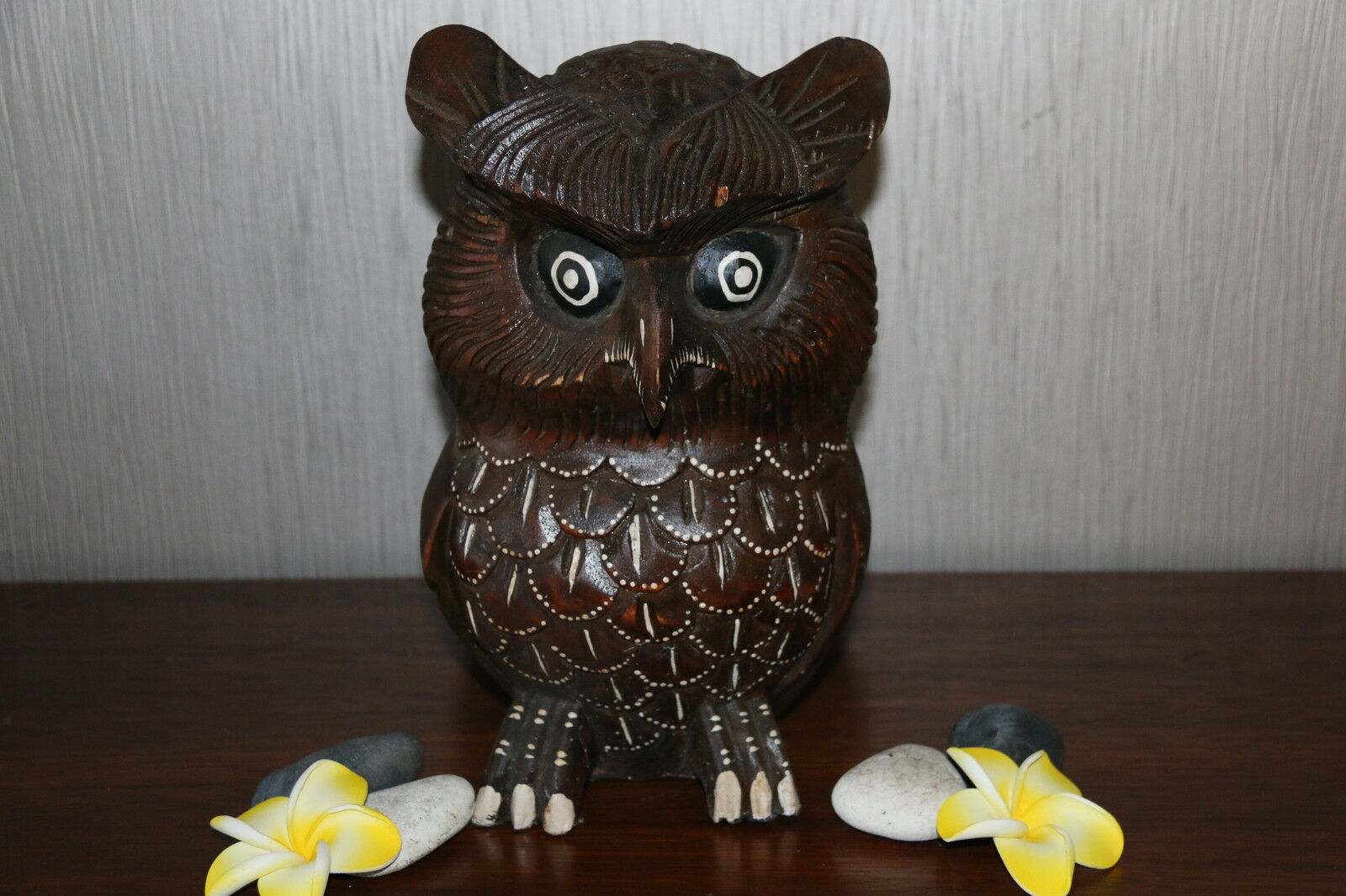 Brand New Bali Hand Carved Wooden Brown Owl - Balinese Wooden Art