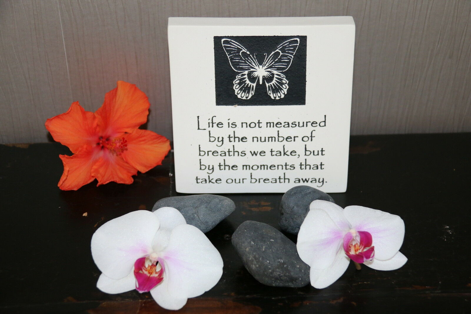 Brand New Balinese Free Standing BUTTERFLY LIFE Affirmation Plaque