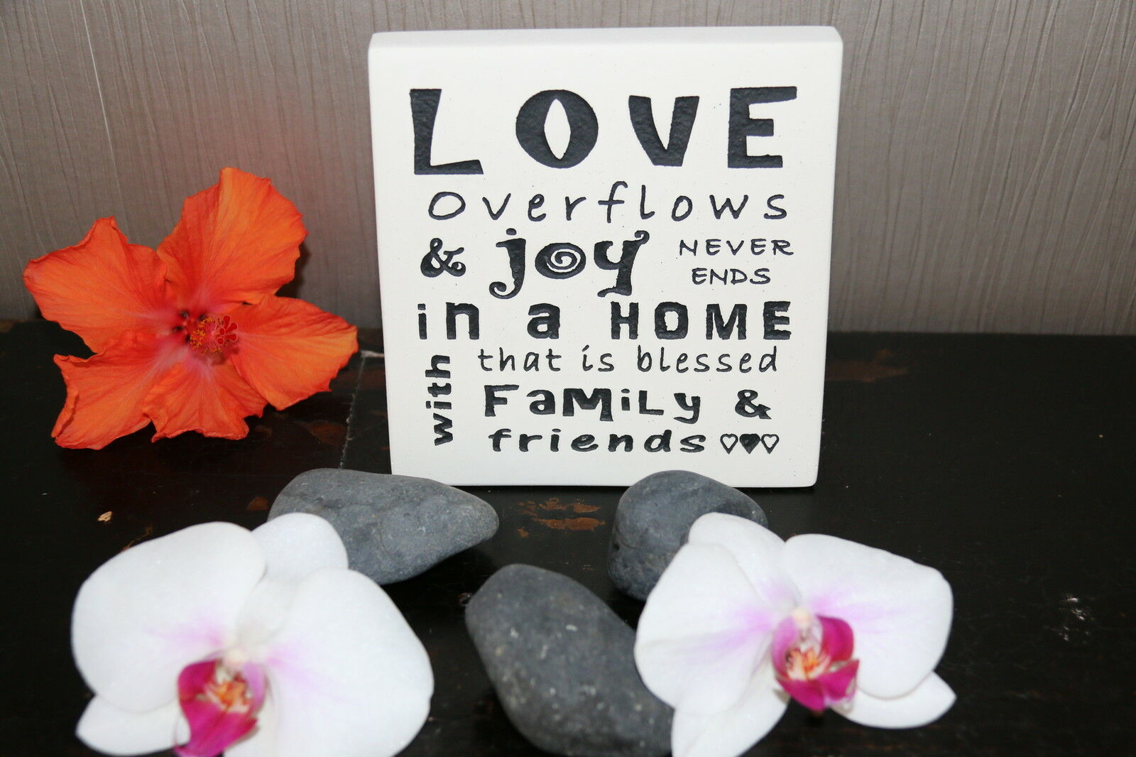 Brand New Balinese Free Standing LOVE / JOY Affirmation Plaque