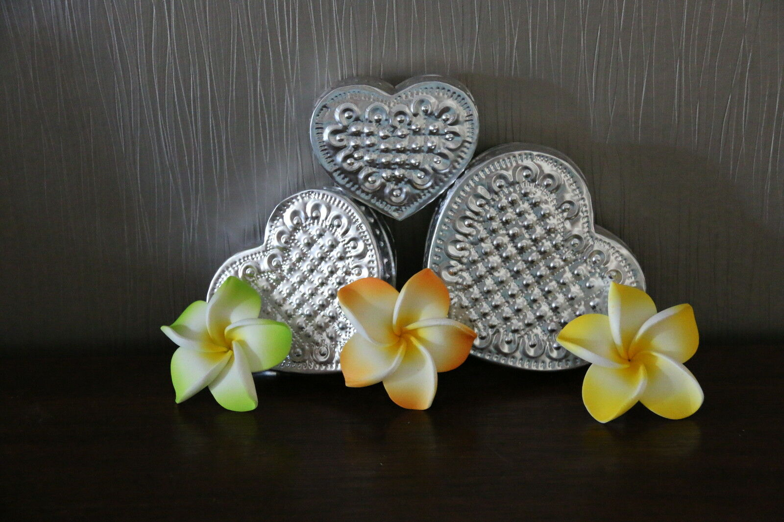 NEW Hand Crafted Aluminium Heart Boxes - Set 3 Balinese Heart Boxes - Gorgeous!!
