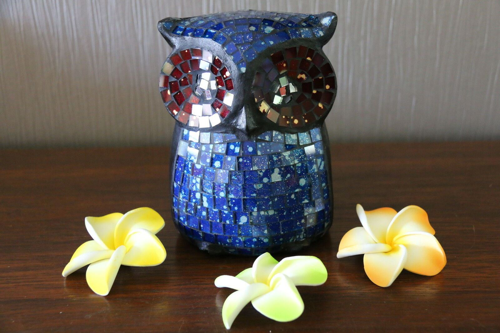 NEW Balinese Hand Crafted Wooden / Mosaic Owl - Many Colours Available FREE POST