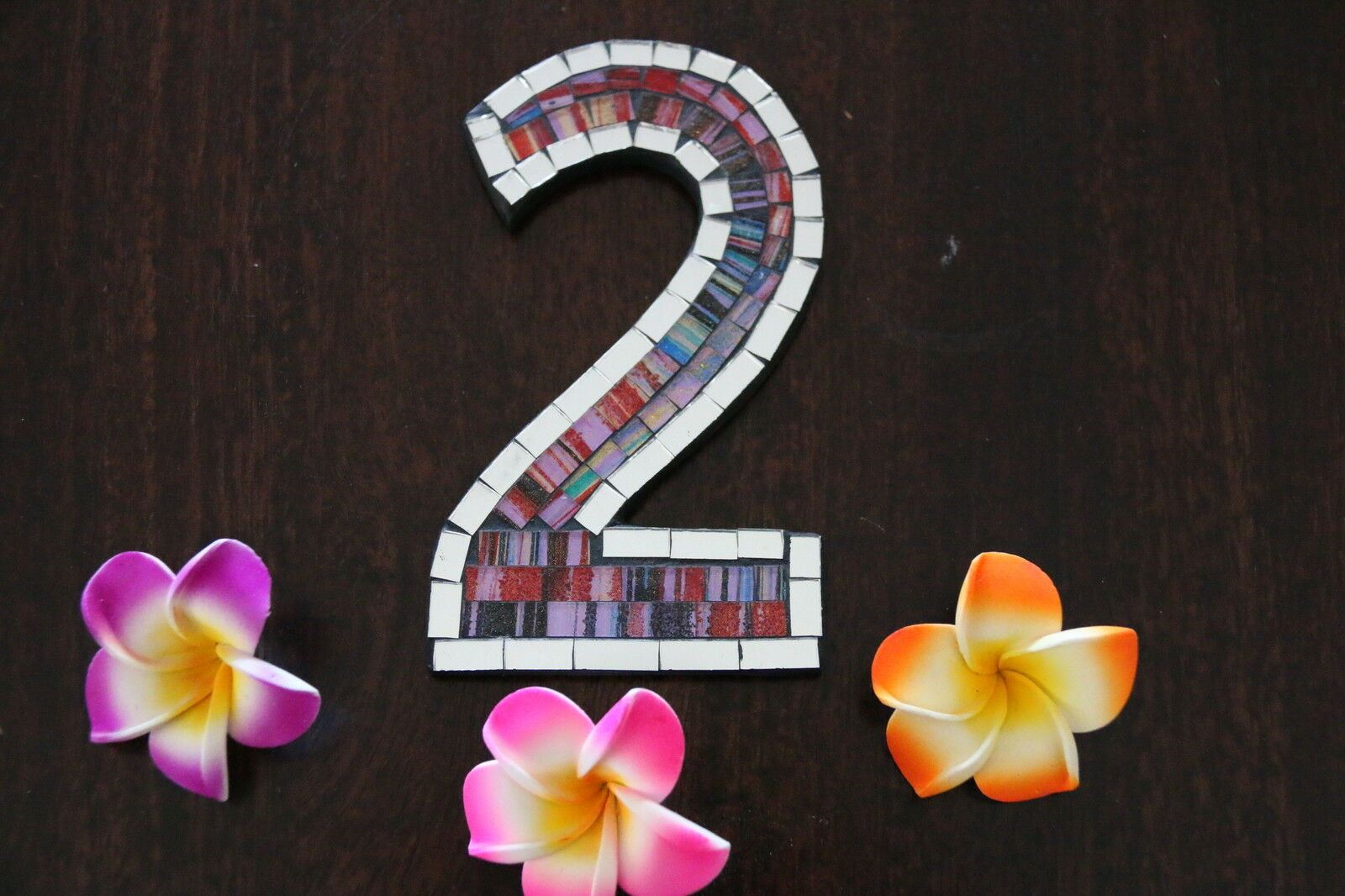NEW Balinese Mosaic House Number - Choose from 1-0 - Mosaic House or Unit Number