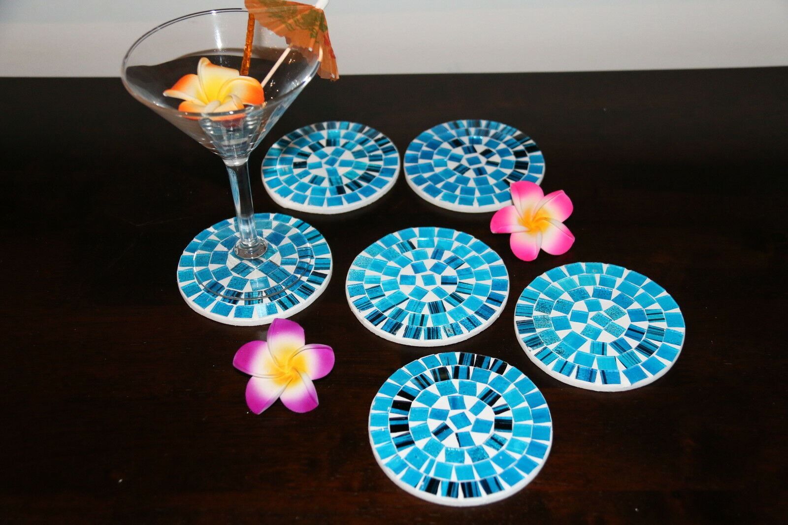 NEW Hand Crafted Balinese Mosaic Coasters - Bali Mosaic Coasters - MANY COLOURS