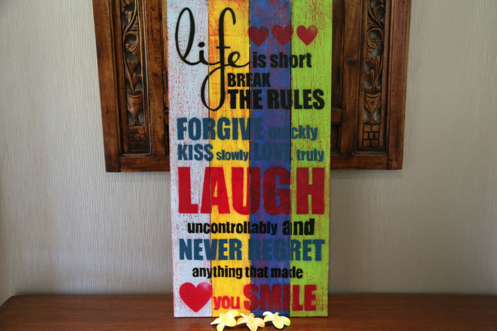 SALE Balinese Hand Crafted AFFIRMATION LIFE Timber Sign -Many Colours Available