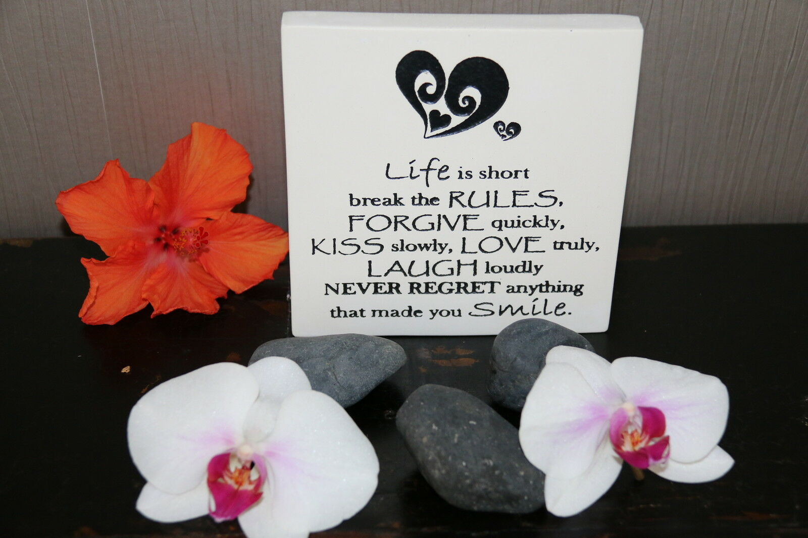 Brand New Balinese Free Standing LIFE RULES Affirmation Plaque