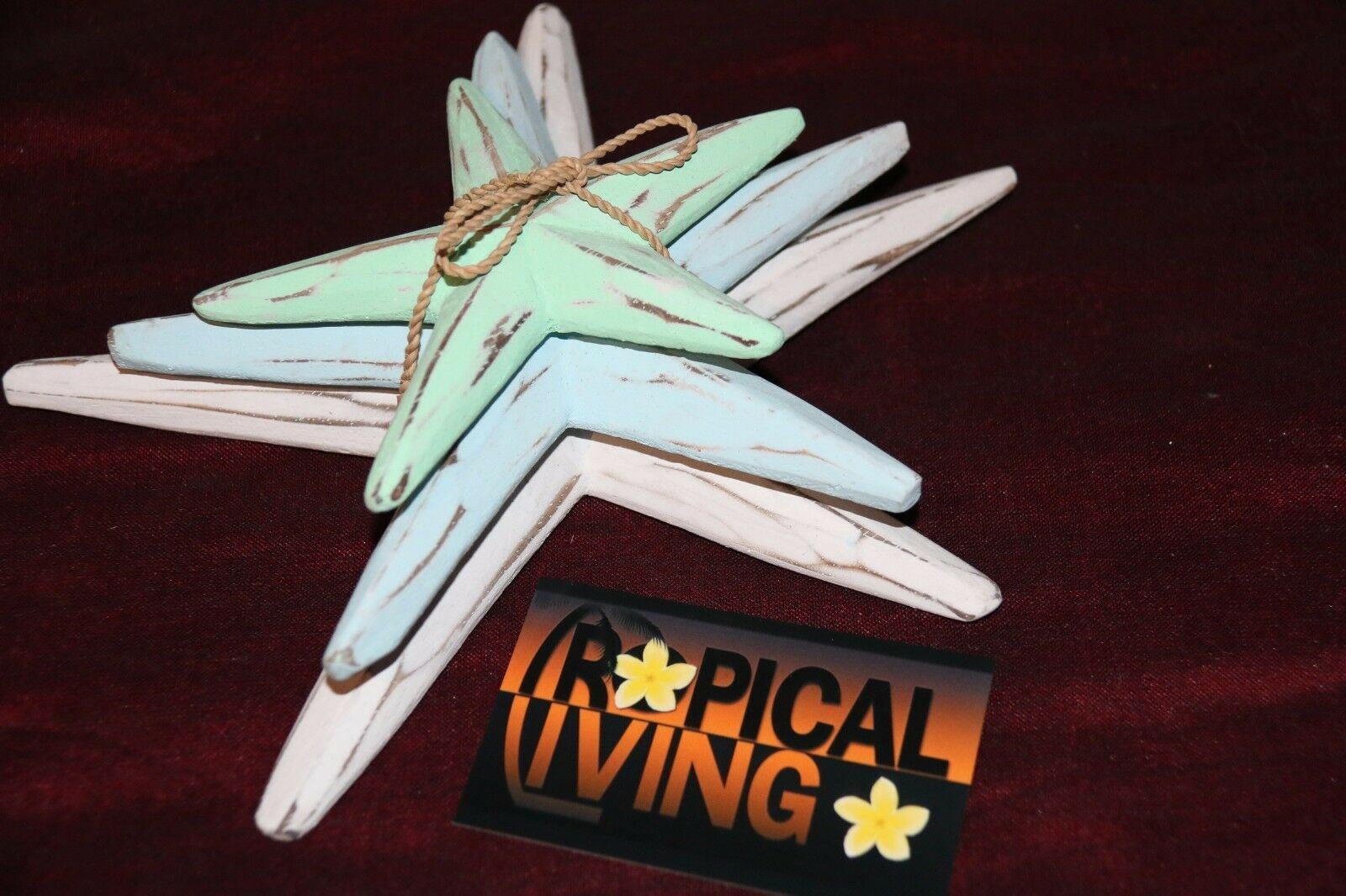 NEW Balinese Hand Crafted Set 3 Starfish Decor - 4 Colours Available