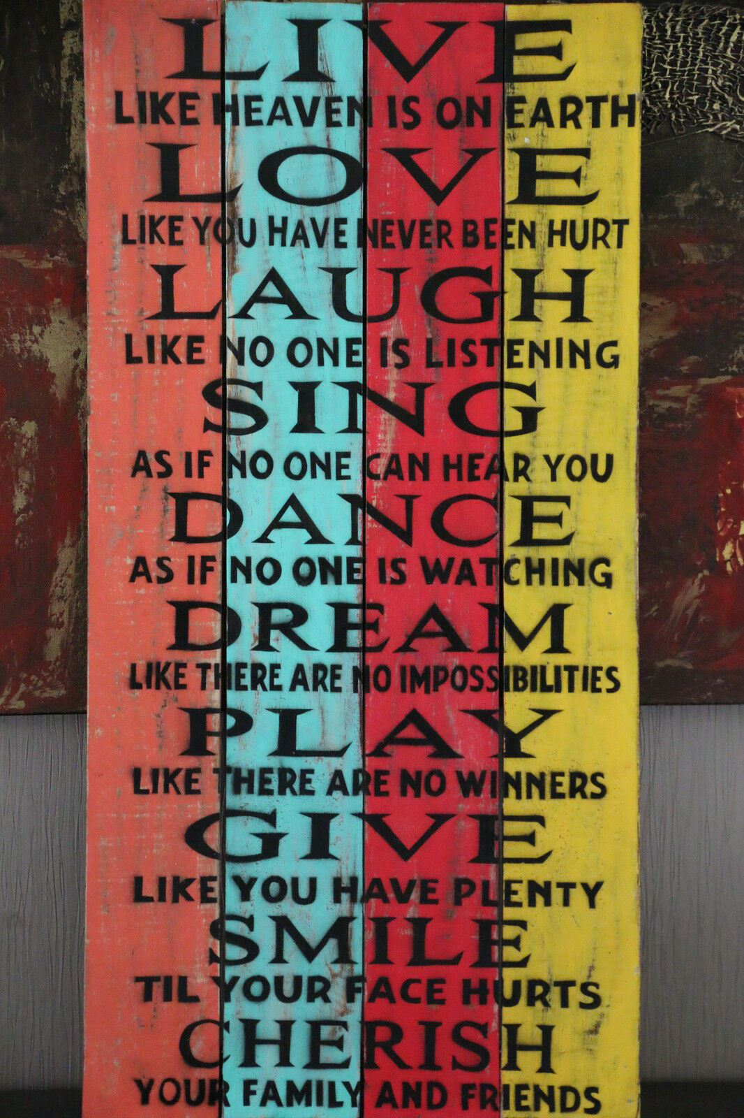 SALE Balinese Hand Crafted AFFIRMATION LIVE Timber Sign - Many Colours Available