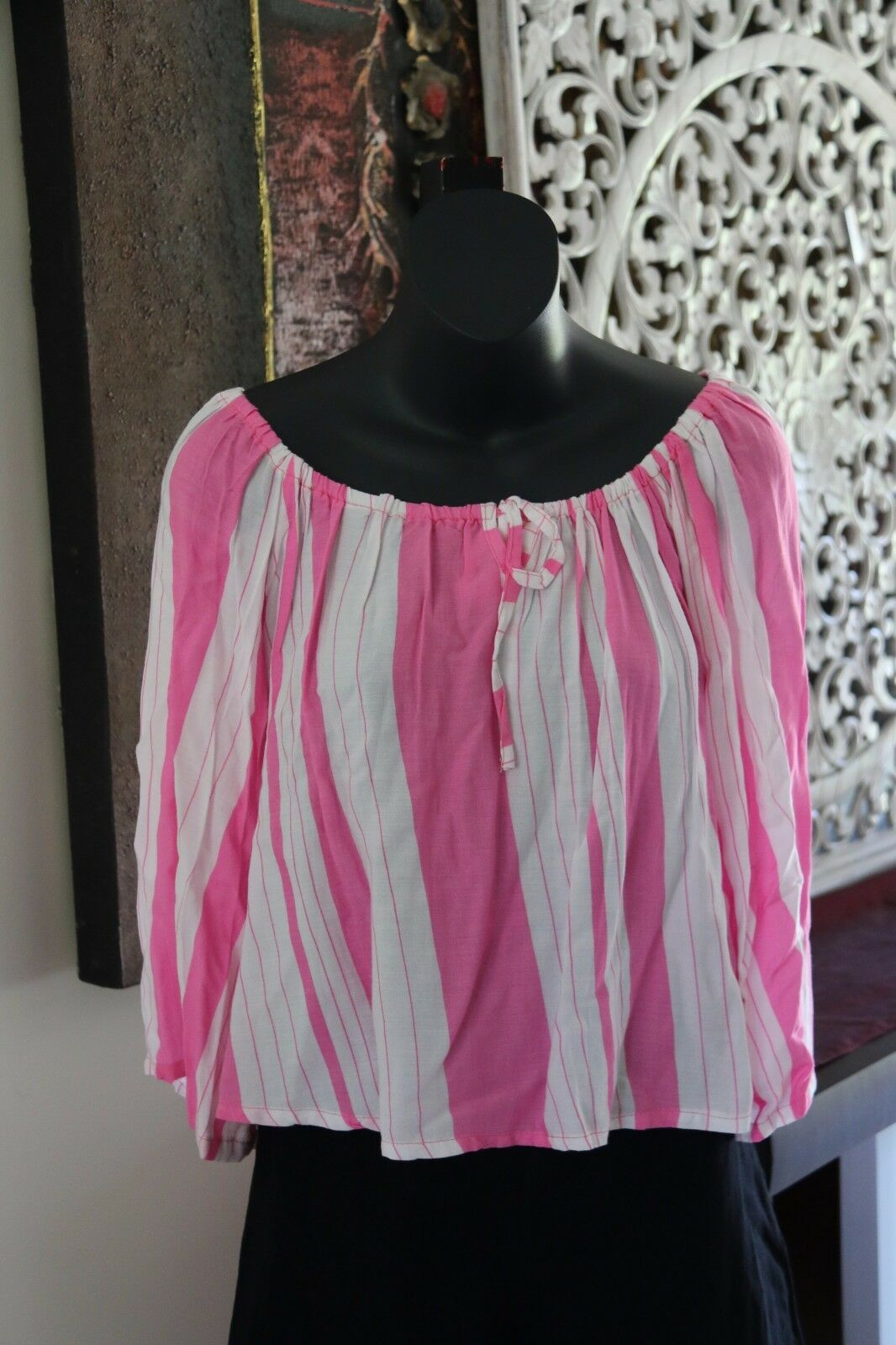 Beautiful 3/4 Sleeve Striped Top - 4 COLOURS AVAIL One Size - Balinese Clothing