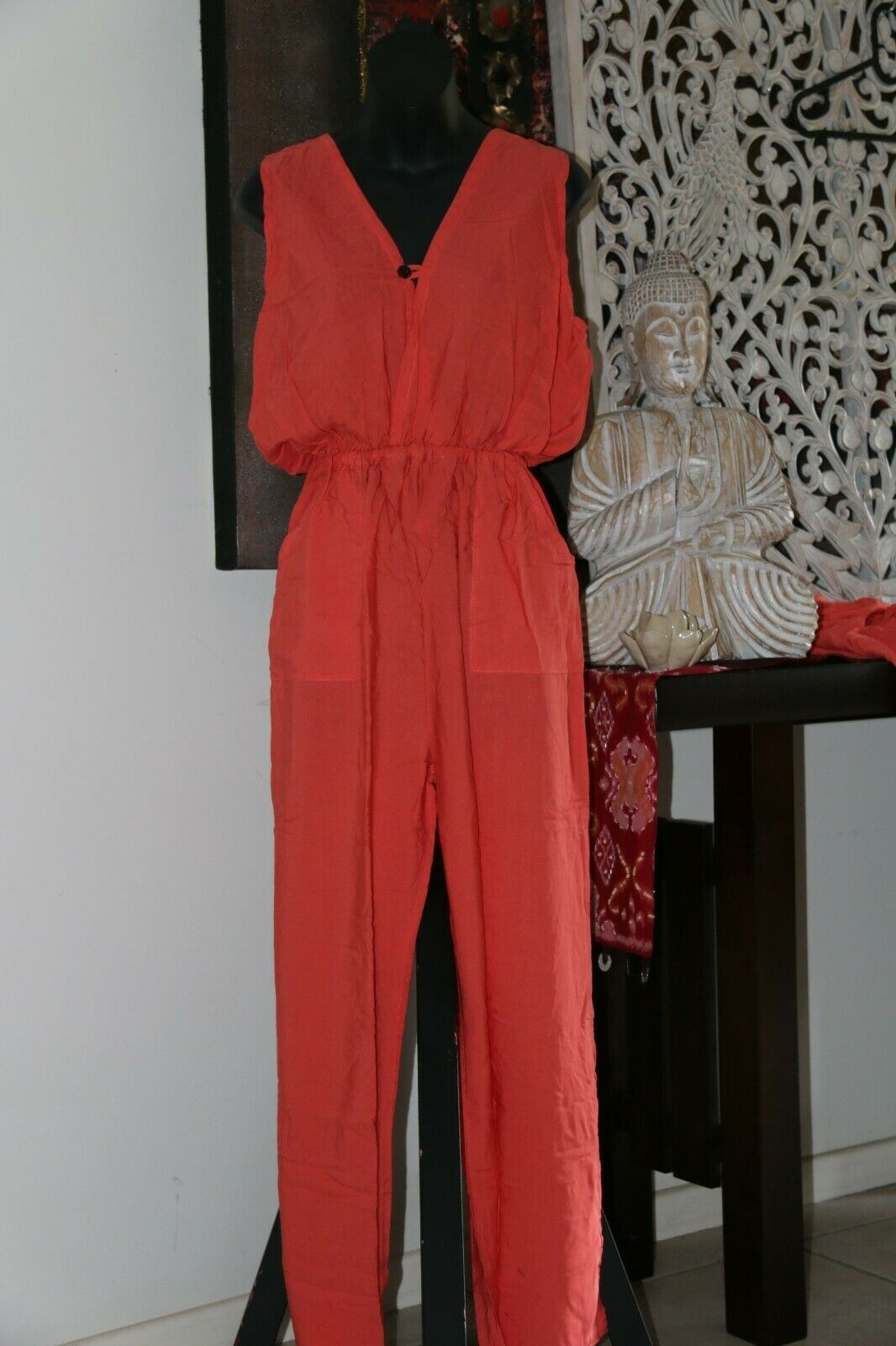 NEW Ladies Long Jumpsuit / One Size / Choose from Black, Blue, White or Orange