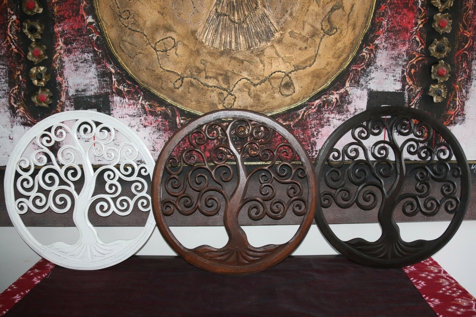 NEW Balinese Carved MDF/Wood Wall Panels - TREE OF LIFE - 3 Colours Available