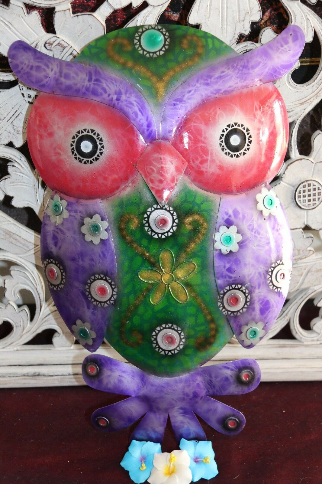NEW Bali Hand Crafted Metal Wall Art Owl - Balinese Metal Art Owl 2 Sizes Avail