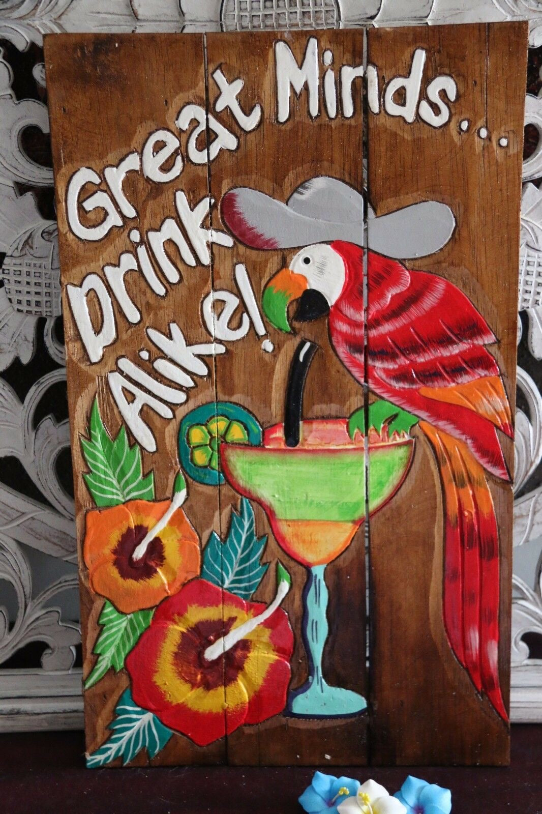 NEW Bali Hand Crafted Tiki Bar GREAT MINDS DRINK ALIKE Sign - Fun Bar Signs