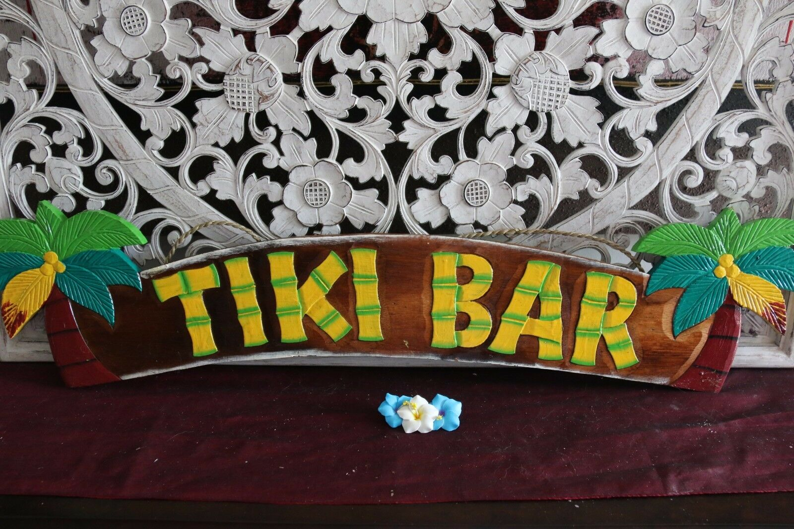 NEW Hand Crafted & Carved TIKI BAR Sign - Tropical Island Bali Bar Sign