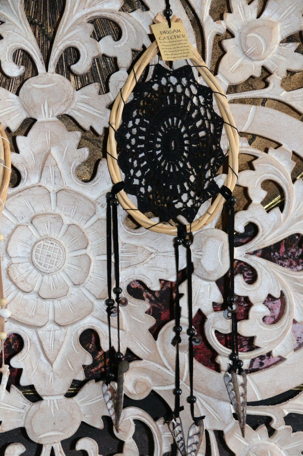NEW Bali Dream Catcher - Crochet, Tassels, Bamboo & Shells BOHO Dream Catcher