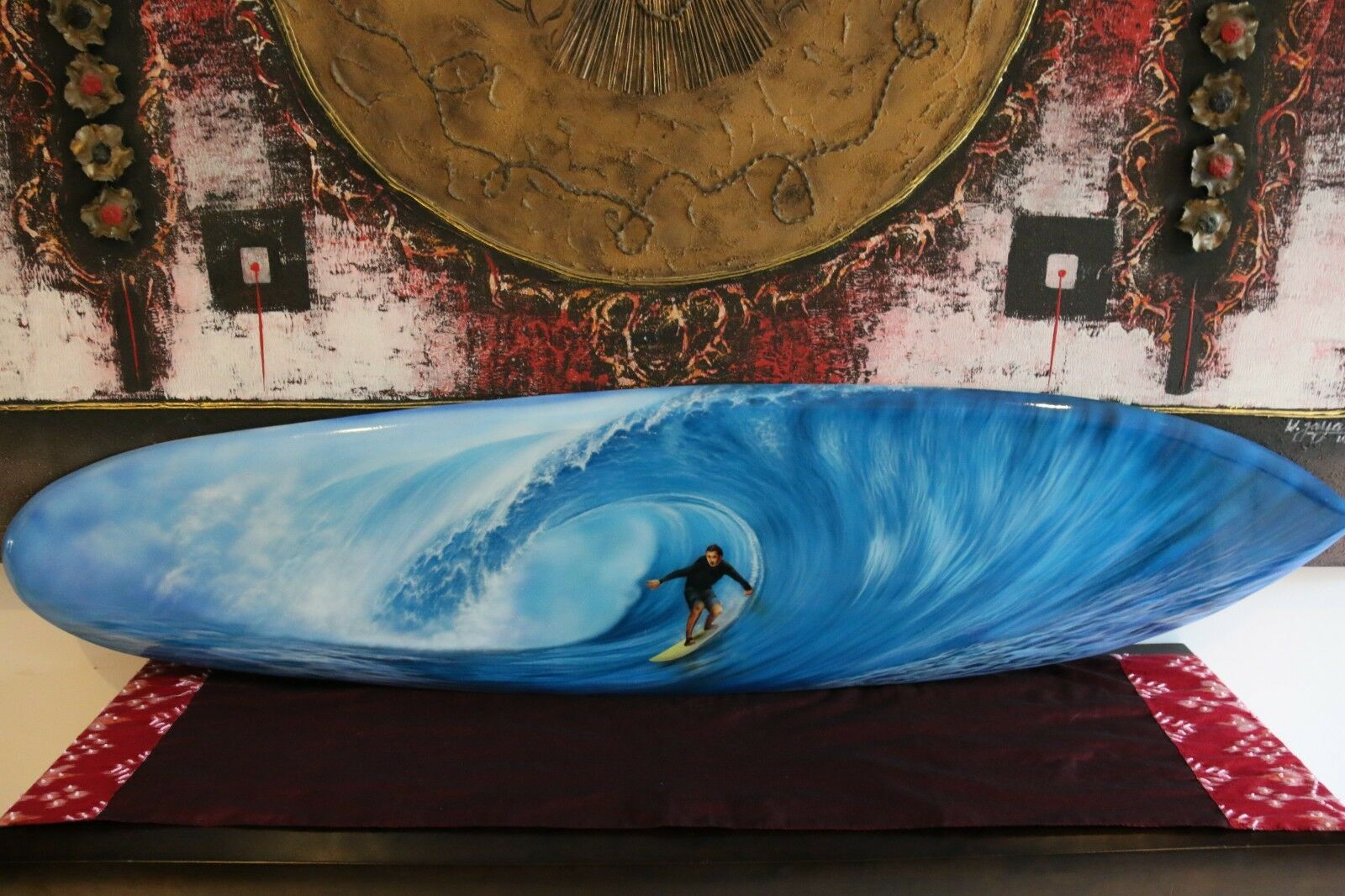 NEW Bali Handmade Air Brushed Surfboard Wall Decor 160cm - Bali Surfboard Wall A