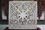 NEW Balinese Hand Carved White Washed Wood Panel - Bali Mandala Wooden Panel
