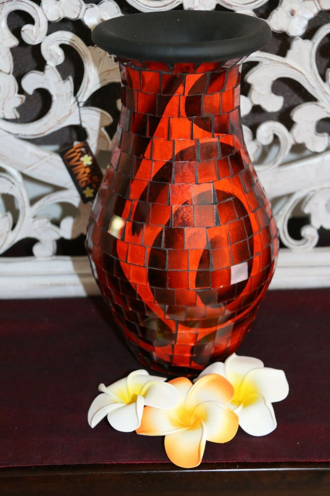 NEW Balinese Mosaic Decorative Vase - 2 Sizes!!  Bali Mosaic Vase Orange/Black