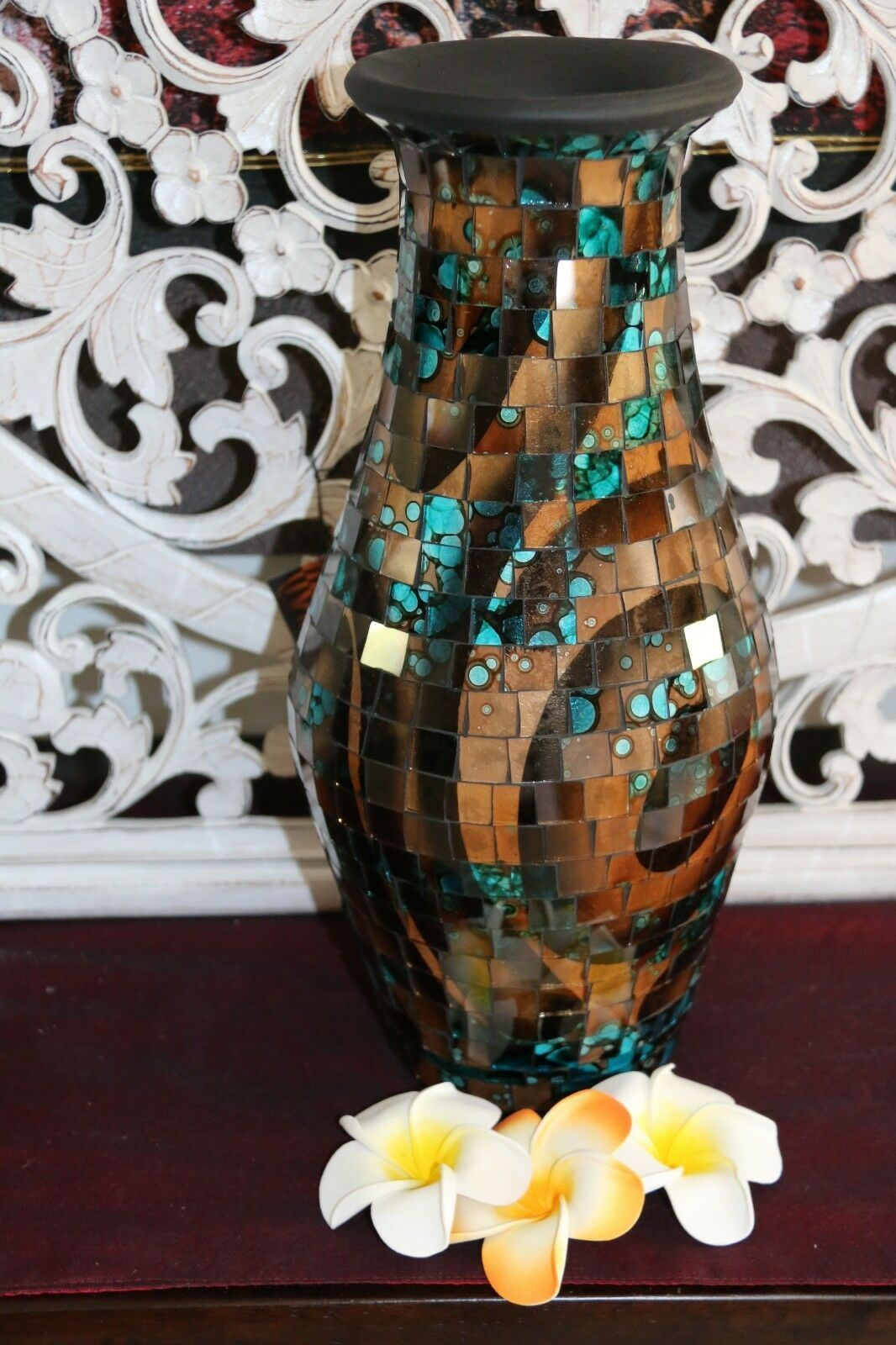 NEW Balinese Mosaic Decorative Vase - 2 Sizes!!  Bali Mosaic Vase Blue/Brown