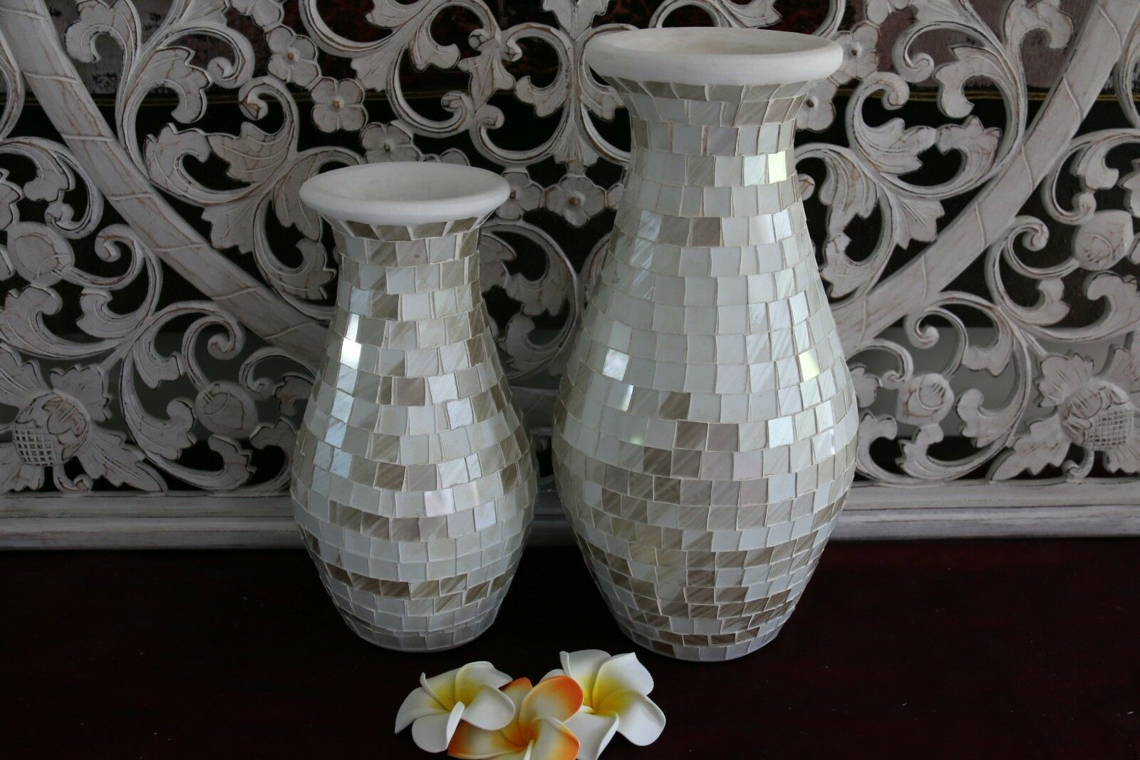 NEW Balinese Mosaic Decorative Vase - 2 Sizes!!  Bali Mosaic Vase White Pearl
