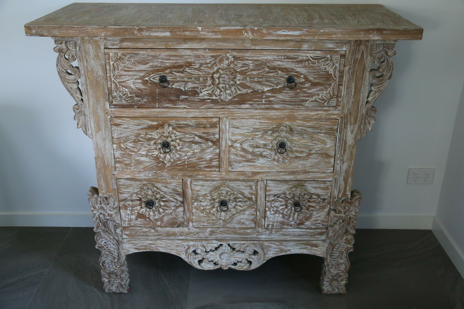 NEW Beautifully Hand Carved TEAK Wood Balinese Tallboy / Drawers - Bali Drawers